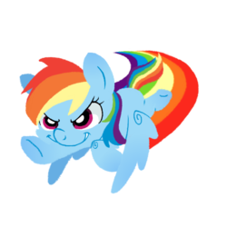 Size: 600x600 | Tagged: artist:yokokinawa, chibi, flying, lineless, rainbow dash, rainbow trail, safe, simple background, transparent background