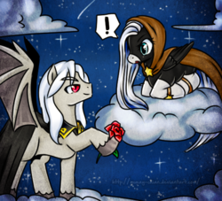 Size: 550x500 | Tagged: artist:rumay-chian, bat wings, cloak, clothes, cloud, exclamation point, flower, night, oc, oc:angela starlight, oc:dracula, pegasus oc, pony, red eyes, rose, safe, sky, socks (coat marking), stars, vampony, wings