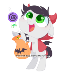 Size: 500x600 | Tagged: artist:yokokinawa, bag, bat wings, candy, clothes, costume, food, green eyes, halloween, halloween costume, horns, lollipop, oc, oc:fire blaze, safe, simple background, transparent background, wings, ych result