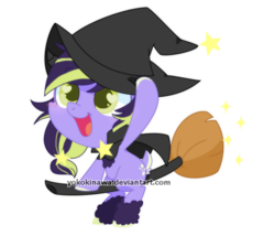 Size: 700x600 | Tagged: artist:yokokinawa, broom, clothes, costume, flying, flying broomstick, halloween, halloween costume, hat, heart eyes, oc, oc only, pony, safe, simple background, solo, stars, transparent background, wingding eyes, witch hat, ych result