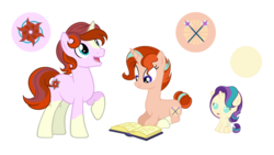 Size: 2560x1440 | Tagged: artist:staricy097, baby, baby pony, book, female, male, mare, oc, oc:magic, oc only, oc:stardust, oc:sunshine glimmer, offspring, parents:starburst, parent:starlight glimmer, parent:sunburst, pony, prone, safe, siblings, stallion, unicorn