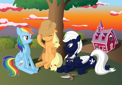 Size: 3900x2700   Tagged: safe, artist:miipack603, applejack, rainbow dash, oc, oc:wolf, earth pony, pegasus, pony, apple, apple tree, applejack's hat, barn, canon x oc, cloud, complex background, cowboy hat, cutie mark, feather, female, food, hair tie, hat, hill, jewelry, knife, leaning back, lying down, mare, mountain, mountain range, necklace, pegasus oc, relaxing, scenic background, simple shading, sitting, stetson, sunset, sweet apple acres, tired, tree, weapon