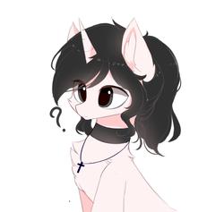 Size: 950x900 | Tagged: artist:heddopen, chest fluff, ear fluff, female, jewelry, necklace, oc, oc only, pony, safe, simple background, tied up, unicorn, white background