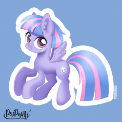 Size: 900x900 | Tagged: artist:piripaints, common ground, cute, female, filly, flying, freckles, looking at you, pastel colors, pegasus, pony, safe, signature, smiling, solo, spoiler:s09e06, wind sprint, wings