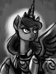 Size: 1080x1440 | Tagged: safe, artist:poecillia-gracilis19, princess luna, alicorn, pony, armor, female, grayscale, mare, monochrome, sketch, solo, warrior luna