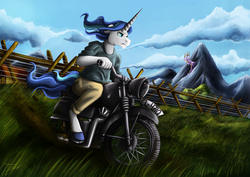 Size: 1750x1237 | Tagged: anthro, artist:jamescorck, clothes, commission, horn, long horn, male, motorcycle, pants, riding, safe, scenery, shining armor, sitting, the great escape