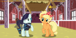 Size: 2000x1000 | Tagged: alternate hairstyle, applejack, artist:charmmycolour, barn, bedroom eyes, clothes, coloratura, dress, ear piercing, earring, eyeshadow, female, jewelry, lesbian, looking at each other, makeup, mare, piercing, pony, raised hoof, rarajack, safe, see-through, shipping, skirt