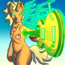 Size: 1000x1000 | Tagged: alicorn, applejack, artist:korencz11, atg 2019, fanfic:star overhead, flying, guitar, magic, newbie artist training grounds, pony, safe, solo, wings