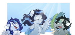 Size: 1024x483 | Tagged: artist:azure-art-wave, colored wings, female, mare, multicolored wings, oc, oc:azure, oc:bunny army, oc only, oc:satin wing, pegasus, pony, safe, two toned wings, wings