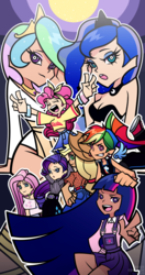Size: 1400x2660 | Tagged: applejack, artist:gingie-liu, dark skin, female, fluttershy, full moon, human, humanized, mane six, moon, panty and stocking with garterbelt, peace sign, pinkie pie, princess celestia, princess luna, rainbow dash, rarity, royal sisters, safe, style emulation, twilight sparkle