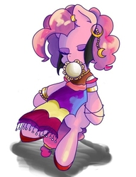 Size: 501x654 | Tagged: safe, artist:koto, pinkie pie, pony, friendship is witchcraft, bipedal, clothes, ear piercing, earring, eyes closed, female, gypsy pie, jewelry, mouth hold, musical instrument, piercing, pixiv, romani, simple background, solo, tambourine, white background