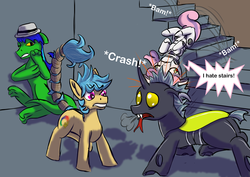 Size: 3508x2480 | Tagged: angry, annoyed, artist:lizardwithhat, butt, changeling, earth pony, lizard, newbie artist training grounds, oc, oc:frizzy brush, oc:solomon izzard, oc:warplix, onomatopoeia, plot, pony, robot, robot pony, safe, scared, simple background, sound effects, speech bubble, surprised, sweetie belle, sweetie bot