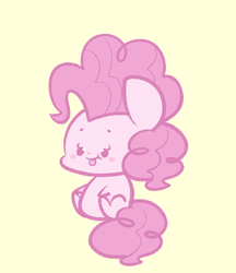 Size: 581x671 | Tagged: safe, artist:typhwosion, pinkie pie, earth pony, pony, :p, beady eyes, blushing, chibi, cute, diapinkes, ponk, simple background, sitting, solo, tongue out, yellow background