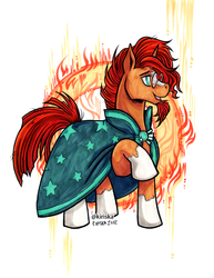 Size: 580x750 | Tagged: safe, artist:kiriska, sunburst, pony, unicorn, male, raised hoof, smiling, solo, stallion