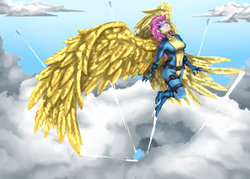 Size: 3000x2142 | Tagged: adult, artist:brother-lionheart, clothes, cloud, flying, gold, human, humanized, large wings, older, older scootaloo, pony, safe, scootaloo, scootaloo can fly, uniform, wings, wonderbolts, wonderbolts uniform