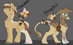 Size: 1679x1041 | Tagged: artist:beardie, bag, bandage, blood, ear piercing, earring, female, griffon, interspecies, jewelry, looking at each other, male, oc, oc:bronze saddle, oc:morning dirge, oc only, parent:buttercream scotch, piercing, pony, reference sheet, safe, stallion, straight