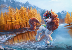 Size: 2000x1414 | Tagged: artist:nemo2d, autumn blaze, awwtumn blaze, beautiful, cute, female, forest, kirin, looking back, open mouth, river, safe, scenery, scenery porn, smiling, solo, sounds of silence, splashing, tree, water