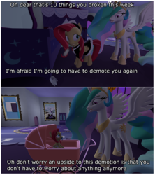 Size: 3900x4392 | Tagged: 2 panel comic, 3d, 4k, age regression, alicorn, artist:mrdoctorderpy, baby, baby carriage, baby pony, clothes, comic, diaper, duster, female, filly, foal, grammar error, maid, pacifier, pony, princess celestia, safe, source filmmaker