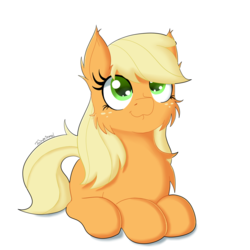Size: 1500x1500 | Tagged: applejack, artist:fajnyziomal, cheek fluff, chest fluff, commission, cute, ear fluff, hatless, jackabetes, loose hair, missing accessory, pony, prone, safe, solo, your character here