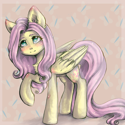 Size: 2048x2048 | Tagged: artist:zefirka, chest fluff, cute, cutie mark background, female, fluttershy, folded wings, looking up, mare, pegasus, pony, raised hoof, safe, shyabetes, solo, standing, three quarter view, wings