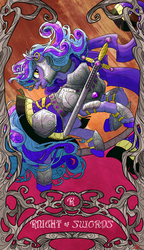 Size: 2088x3619 | Tagged: armor, artist:sourcherry, curly hair, ear piercing, earring, female, jewelry, long mane, mare, oc, oc only, oc:violet reverie, piercing, pony, safe, solo, sword, unicorn, weapon