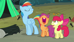 Size: 1280x720 | Tagged: apple bloom, blank flank, eyes closed, log, nose in the air, open mouth, pony, rainbow dash, safe, scootaloo, screencap, sleepless in ponyville, smiling, tent