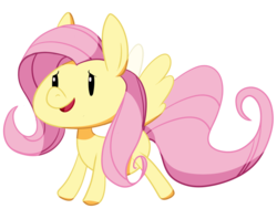 Size: 660x524 | Tagged: safe, artist:riboo, fluttershy, pegasus, pony, chibi, cute, dot eyes, female, mare, open mouth, shyabetes, simple background, smiling, solo, spread wings, three quarter view, transparent background, wings