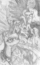 Size: 756x1203 | Tagged: alicorn, artist:yewdee, atg 2019, dream walker luna, earth pony, female, filly, mare, monochrome, moon, newbie artist training grounds, nightmare, oc, pony, princess luna, safe, sketch, tentacles, traditional art