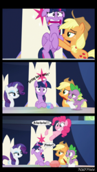 Size: 640x1134 | Tagged: alicorn, applejack, comic, cowboy hat, descriptive noise, dragon, earth pony, edit, edited screencap, editor:teren rogriss, female, floppy ears, friendship throne, grin, hat, hooves, horn, mare, misspelling, open mouth, pinkie pie, pony, quill, rarity, safe, screencap, screencap comic, smiling, speech bubble, spike, spoiler:s09e01, spoiler:s09e02, the beginning of the end, twilighting, twilight's castle, twilight sparkle, twilight sparkle (alicorn), unicorn, whoopee cushion, winged spike