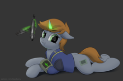 Size: 3535x2346 | Tagged: artist:hardbrony, clothes, cutie mark, fallout equestria, fanfic, fanfic art, female, floppy ears, glowing horn, gray background, gun, hooves, horn, levitation, lying down, magic, mare, oc, oc:littlepip, oc only, pipbuck, pony, prone, safe, simple background, solo, submachinegun, telekinesis, unicorn, vault suit, weapon