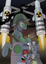 Size: 2800x3840 | Tagged: artist:hardbrony, barrel, bat, big red button, fallout equestria, fanfic, fanfic art, female, floppy ears, gritted teeth, helmet, hooves, horn, icbm, mare, nuclear weapon, oc, oc:littlepip, oc only, open mouth, pony, rocket, safe, unicorn, weapon, zebra, zebra oc