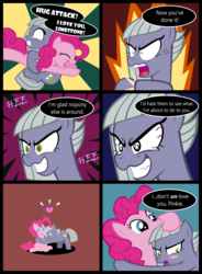 Size: 1140x1546 | Tagged: artist:magerblutooth, bait and switch, blushing, blush sticker, comic, commission, cross-popping veins, cute, dialogue, earth pony, female, floating heart, heart, hug, limabetes, limestone pie, limetsun pie, mare, pinkie pie, pony, safe, sisterly love, sunburst background, tsundere, wingding eyes
