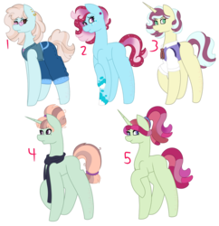 Size: 1024x1060 | Tagged: adopts, adopts for sale, artist:sammiemae227, clothes, crack ship offspring, ear piercing, earring, earth pony, female, glasses, gradiant mane, hooves up, jewelry, mares, multicolored hair, multicolored tail, muticolored mane, pants, parent:coco pommel, parent:flim, parent:marble pie, parent:moondancer, parent:mrs.cake, parent:photo finish, parent:rarity, parent:svengallop, parent:tree hugger, parent:zephyr breeze, piercing, pony, ponytail, raised leg, safe, scarf, shirt, simple background, transparent background, unicorn