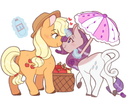Size: 990x776 | Tagged: apple, applejack, artist:doekis, blushing, classical unicorn, cute, earth pony, eye contact, female, floating heart, food, glowing horn, heart, horn, leonine tail, lesbian, looking at each other, love, magic, mare, pony, rarijack, rarity, safe, shipping, telekinesis, umbrella, unicorn, water bottle