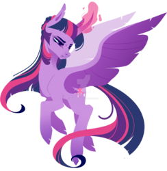 Size: 1920x1967 | Tagged: alicorn, artist:rxiantool, curved horn, deviantart watermark, glowing horn, horn, obtrusive watermark, pony, safe, simple background, solo, spread wings, transparent background, twilight sparkle, twilight sparkle (alicorn), watermark, wings