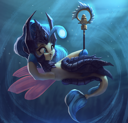 Size: 2649x2550 | Tagged: artist:vanillaghosties, atg 2019, crossover, female, grin, high res, league of legends, my little pony: the movie, nami, princess skystar, safe, seapony (g4), smiling, underwater, video game crossover