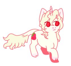 Size: 280x260 | Tagged: albino, anime, artist:guidomista, artist:miiistaaa, artist:nijimillions, chibi, cloven hooves, crossover, cute, derpibooru exclusive, food, frown, horn, jjba, jojo, jojo's bizarre adventure, leonine tail, looking away, male, one hoof raised, pannacotta fugo, pink, ponified, pony, red eyes, safe, simple background, stallion, standing, strawberry, transparent background, unicorn, vento aureo, white, white fur, white hair