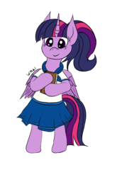 Size: 2135x3240 | Tagged: alicorn, alternate hairstyle, artist:wapamario63, bipedal, book, clothes, colored, cute, female, flat colors, mare, pleated skirt, pony, ponytail, safe, schoolgirl, school uniform, skirt, solo, twilight sparkle, twilight sparkle (alicorn)