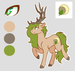 Size: 1100x1050 | Tagged: safe, artist:flaming-trash-can, oc, oc only, oc:xander, deer, deer pony, original species, pony, antlers, raised hoof, reference, reference sheet, solo