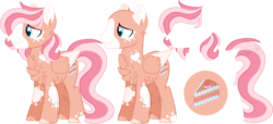 Size: 5760x2636 | Tagged: artist:sh3llysh00, bald, magical lesbian spawn, male, oc, oc:strawberry cake, offspring, parent:fluttershy, parent:pinkie pie, parents:flutterpie, pegasus, pony, reference sheet, safe, solo, stallion