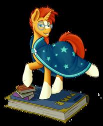 Size: 1647x2000 | Tagged: safe, artist:dexbelae, sunburst, pony, unicorn, book, clothes, glasses, male, raised hoof, raised leg, smiling, solo, stallion