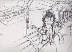 Size: 877x638   Tagged: safe, artist:scribblepwn3, alien, cat, earth pony, pony, alien (franchise), comic panel, corridor, crossover, ellen ripley, female, flamethrower, horror, ink, mare, monochrome, nostromo, pen drawing, ponified, science fiction, traditional art, weapon
