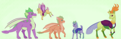 Size: 4213x1359 | Tagged: artist:ganashiashaka, dragonling, gay, hybrid, interspecies offspring, magical gay spawn, male, oc, oc:copper, oc:fauna, oc:spiritus, offspring, parent:smolder, parent:spike, parents:spolder, parents:thoraxspike, parent:thorax, safe, shipping, spike, thorax, thoraxspike