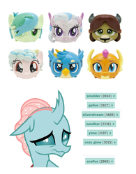 Size: 800x1024 | Tagged: cozy glow, derpibooru, gallus, meta, ocellus, sad, safe, sandbar, silverstream, smolder, stack'ems, tags, toy, yona