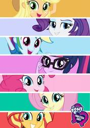 Size: 679x960 | Tagged: safe, applejack, fluttershy, pinkie pie, rainbow dash, rarity, sci-twi, sunset shimmer, twilight sparkle, equestria girls, equestria girls series, official, equestria girls logo, female, glasses, humane five, humane seven, humane six, looking at you, smiling