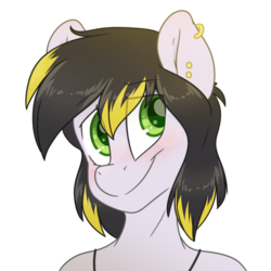 Size: 2200x2200 | Tagged: safe, artist:fluffyxai, oc, oc only, anthro, accessories, blushing, jewelry, male, smiling, stallion
