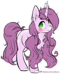 Size: 1319x1608 | Tagged: anime, artist:mulberrytarthorse, blushing, chest fluff, female, freckles, looking at you, mare, my little pony, oc, oc:mulberry tart, oc only, pigtails, pony, safe, simple background, solo, transparent background, twintails, unicorn, white outline
