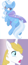 Size: 688x1588 | Tagged: artist:cinnamontee, bluetrix, edit, female, male, prince blueblood, reaction, safe, shipping, straight, trixie