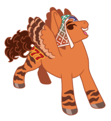 Size: 320x350 | Tagged: safe, artist:guidomista, artist:miiistaaa, artist:nijimillions, derpibooru exclusive, pegasus, pony, 7, accessories, accessory, anime, brown, brown hair, brown mane, brunette, chibi, clothes, crossover, curls, curly hair, curly tail, cute, faic, food, grin, guido, guido mista, hat, hooves, jjba, jojo, jojo's bizarre adventure, looking back, male, markings, mista, open mouth, orange, ponified, proud, seven, simple background, smiling, solo, stallion, standing, stripes, transparent background, vento aureo, wings
