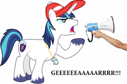Size: 1342x886 | Tagged: coach, earth pony, gear, hat, human arm, jon glaser loves gear, male, megaphone, photoshop, ponified, pony, safe, shining armor, text, tv reference, whistle, yelling